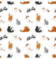 colorful seamless pattern with cats different vector image
