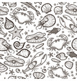 crab and shell seamless pattern vector image vector image