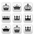 Crown royal family icons set vector image