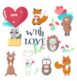 cute animals in love isolated vector image vector image