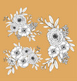 cute line flowers isolated on light background vector image vector image