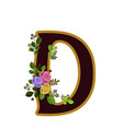 flower alphabet letter d decorated with roses and vector image