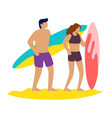 friends surfers with surfboard talking on the vector image