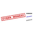 grunge cyber monday scratched rectangle stamps vector image vector image