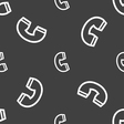 handset icon sign Seamless pattern on a gray vector image