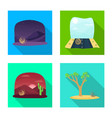 isolated object landscape and nature icon set vector image vector image