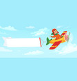 kid on airplane with banner child pilot flying in vector image vector image