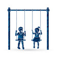 little boy and girl are playing swing together vector image