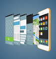 Modern smartphone with different application scree vector image vector image