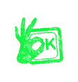 Ok green grunge rubber stamp with the hand sign vector image vector image
