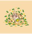 owl sticker emoticon celebrates profits dollars vector image