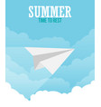 paper plane in sky flat style vector image vector image