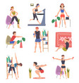 people doing sports at home set men and women vector image vector image