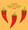 red cartoon chile peppers in sunglasses and phrase vector image