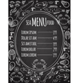 Seafood chalkboard menu template vector image vector image