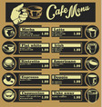 set of coffee menu with a cups of coffee drinks 5 vector image vector image