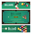 set of pool billiard snooker tournament banners vector image