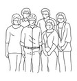 six people wearing facial safety vector image vector image