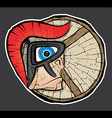 spartan warrior face profile textured background vector image