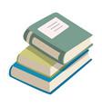stack of books three books flat design vector image