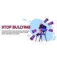 stop bullying cartoon banner teen girl crying vector image