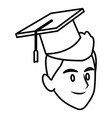 student man with graduation hat vector image