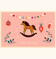 vintage christmas horse vector image vector image