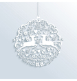 White Merry Christmas bauble ornament vector image