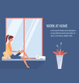 woman working at home on laptop in living room vector image