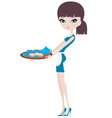 young attractive waitress vector image vector image