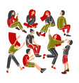 young people having fun group young people vector image vector image