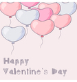 A lot of hand drawn heart balloons flying vector image