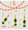 champagne bottle glass flags and spiral confetti vector image