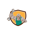 Angry Gorilla Mechanic Spanner Shield Cartoon vector image vector image