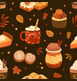 autumn season dessert and drink flat vector image vector image