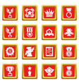 awards medals cups icons set red square vector image vector image