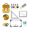 back to school student stuff set vector image