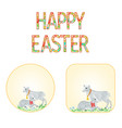 banner happy easter lamb and sheep vector image vector image