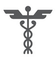 caduceus glyph icon medical and hospital vector image vector image