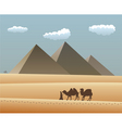 camels and Bedouin in desert vector image