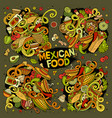 cartoon set of mexican food doodles design vector image vector image
