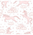 cartoon unicorns repeat pattern with clouds vector image