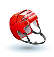 classic red ice hockey helmet realistic sports vector image vector image