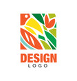 colorful logo design in rectangular shape vector image vector image