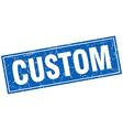 custom blue square grunge stamp on white vector image vector image