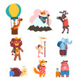cute animals cartoon characters traveling on vector image vector image