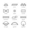 Different types of pasta Flat linear icon food vector image