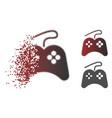 disintegrating dot halftone gamepad icon vector image