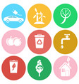 eco energy save water and greening planet icons vector image