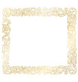 golden frame floral ornament vector image